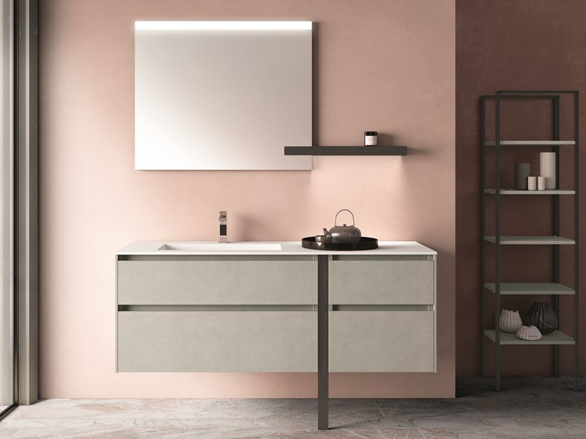Single wall-mounted melamine-faced chipboard vanity unit with drawers SEGNO | Vanity unit by Cerasa