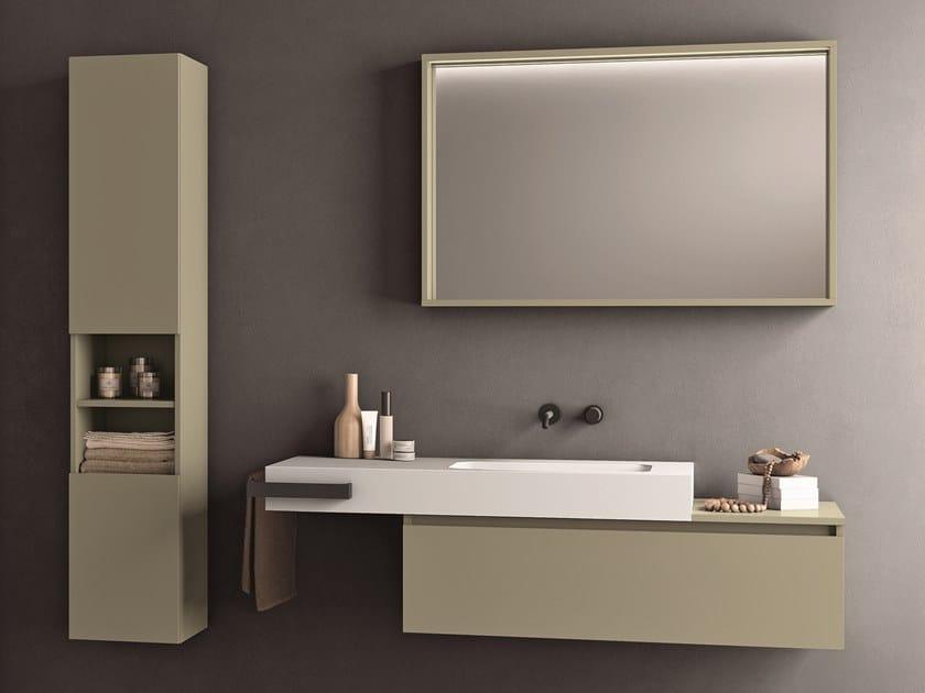 Single melamine-faced chipboard vanity unit with towel rail SEGNO | Vanity unit with towel rail by Cerasa