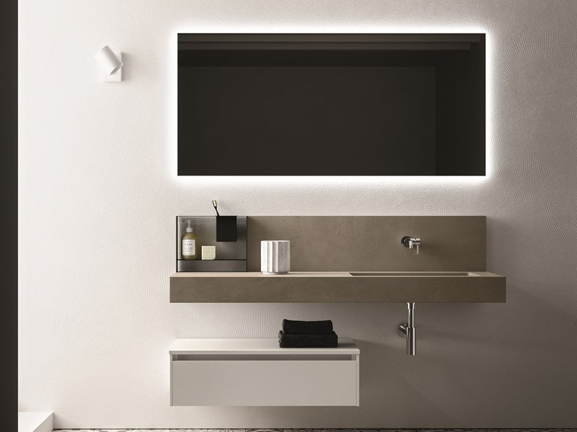Single melamine-faced chipboard vanity unit with drawers SEGNO | Single vanity unit by Cerasa