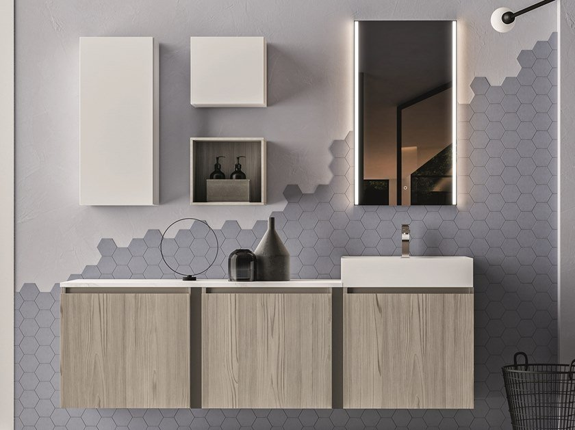 Wall-mounted melamine-faced chipboard vanity unit with cabinets SEGNO | Vanity unit with cabinets by Cerasa