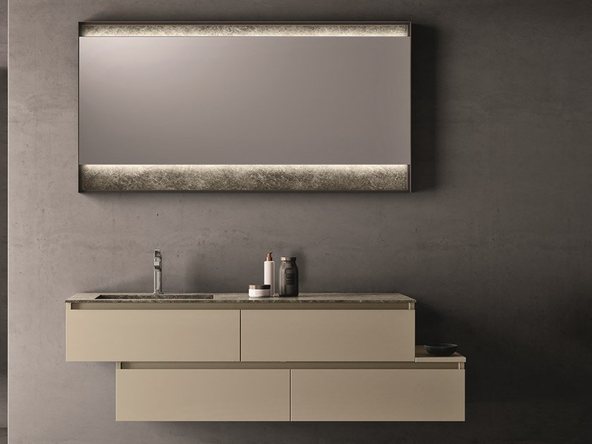 Wall-mounted melamine-faced chipboard vanity unit with mirror SEGNO | Vanity unit with mirror by Cerasa