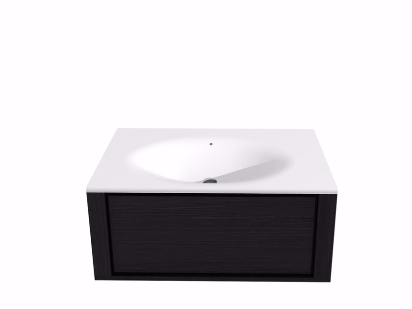 Single wall-mounted vanity unit with drawers QUALITIME BLACK   Vanity unit by Ethnicraft