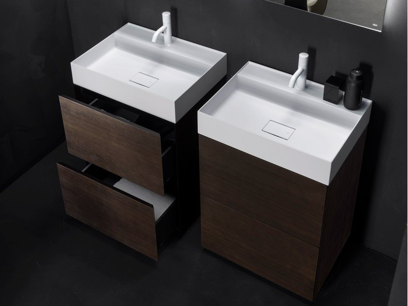 Wooden vanity unit with drawers PURE | Double vanity unit by FALPER