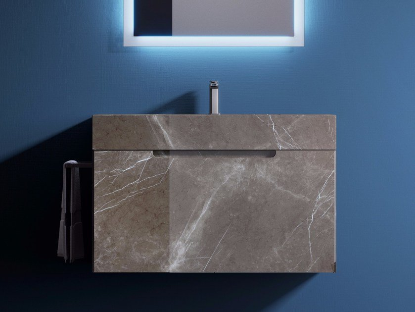 Single porcelain stoneware vanity unit with drawers CUBE | Vanity unit by Q'in