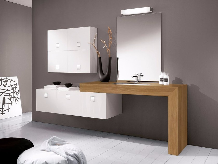 Wooden vanity unit with drawers COUNTER | Single vanity unit by CARMENTA