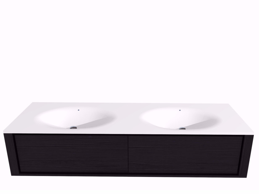 Mobile lavabo doppio sospeso con cassetti QUALITIME BLACK | Mobile lavabo con cassetti by Ethnicraft
