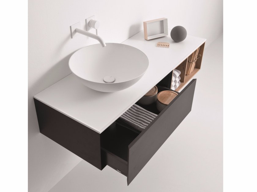 Lacquered wall-mounted vanity unit with drawers QUATTRO.ZERO | Vanity unit with drawers by FALPER