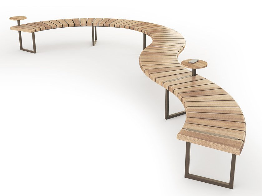 Sectional Curved steel and wood Bench VARIATIONS | Curved Bench by LAB23