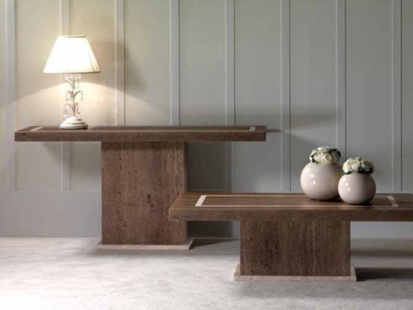 Rectangular travertine console table VASARI | Console table by International Marmi