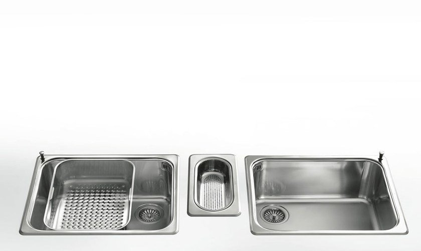 Contemporary style single jetted stainless steel sink with drawer VASCHE INCASSO RAGGIO 60 | Stainless steel sink by ALPES-INOX