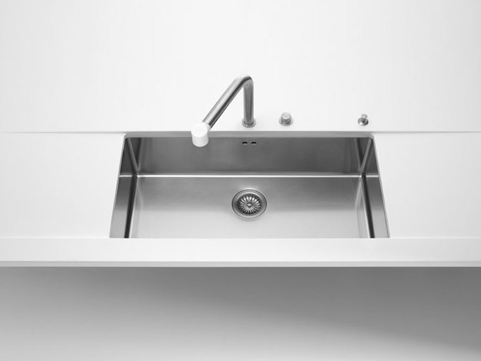 Contemporary style single jetted stainless steel sink with drawer VASCHE SOTTOPIANO RAGGIO 12 | Stainless steel sink by ALPES-INOX