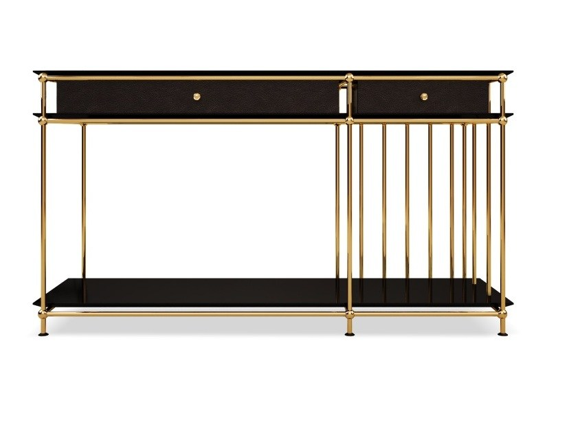 Lacquered rectangular wooden console table with drawers VEGAS | Console table by Porustudio