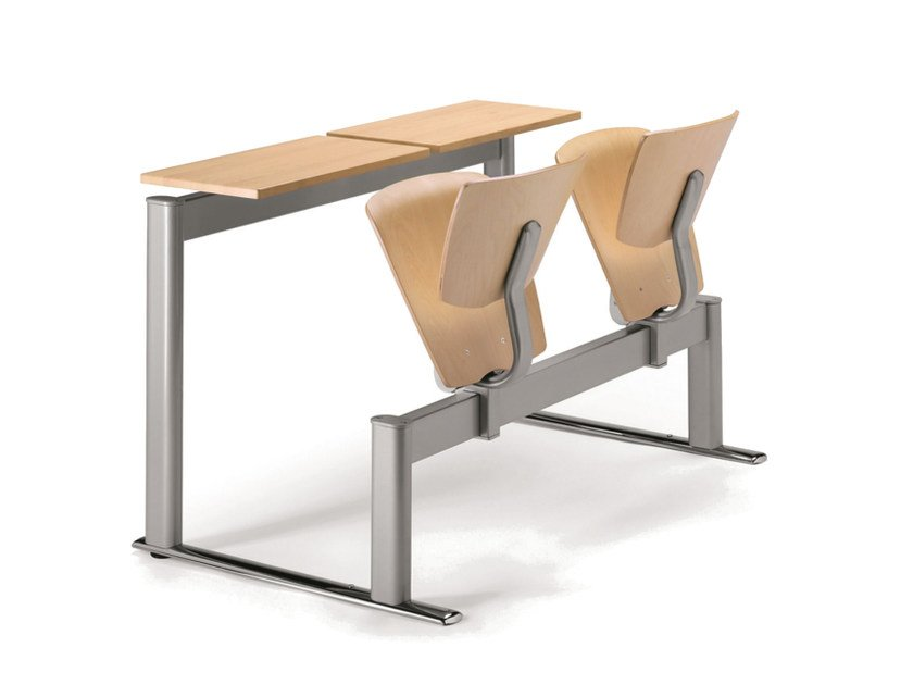 Freestanding multi-layer wood beam seating with tip-up seats VEKTA A 111 by TALIN
