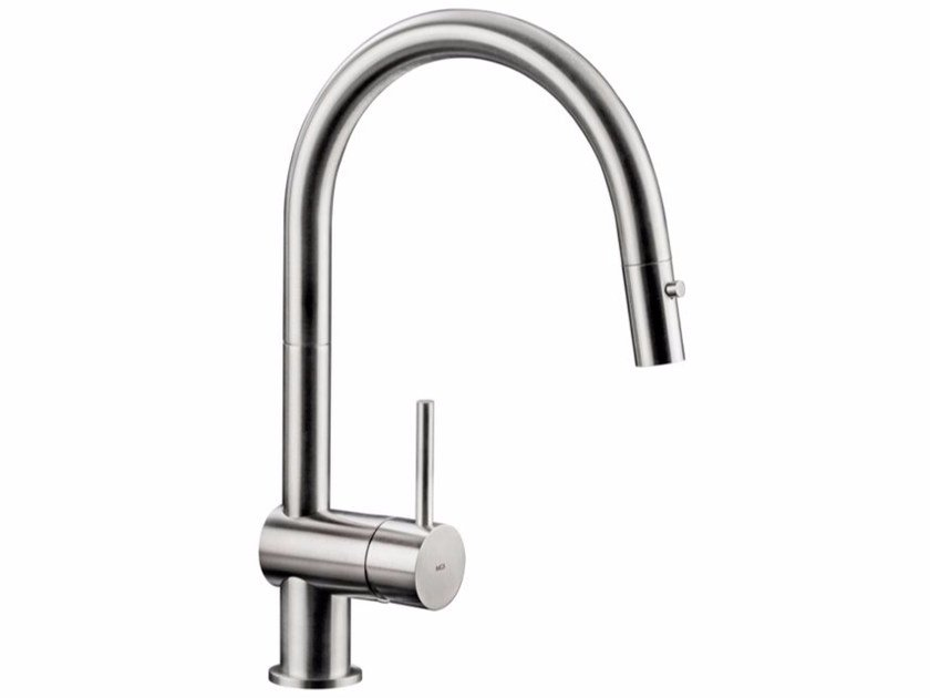 Countertop stainless steel kitchen mixer tap with pull out spray VELA D by MGS