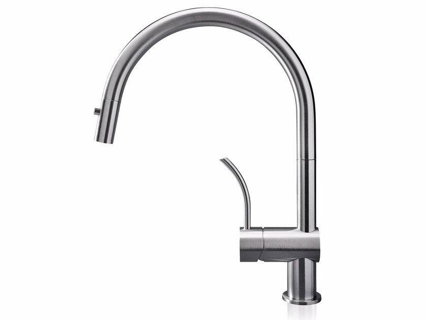 Countertop stainless steel kitchen mixer tap with pull out spray VELA PD by MGS