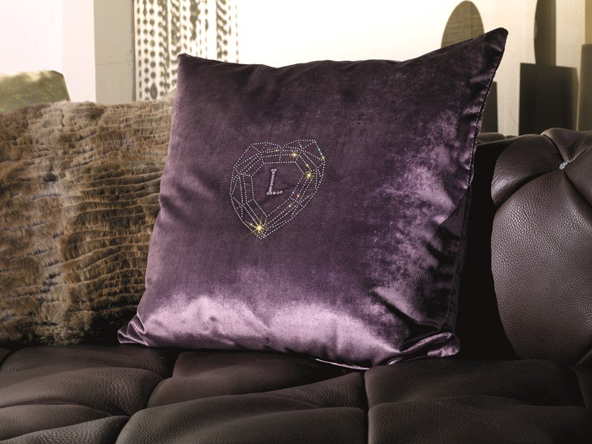 Solid-color square velvet cushion VELVET CUSHION by Longhi