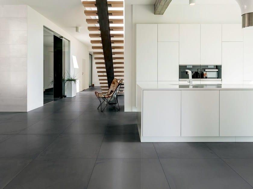 Full-body porcelain stoneware flooring with stone effect VELVET PELTRO by La Fabbrica