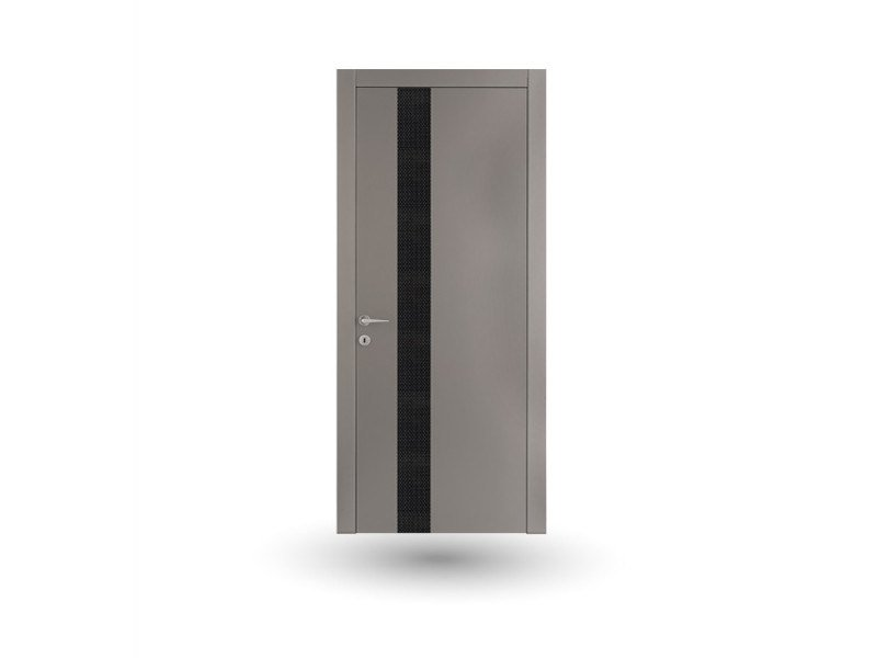 Hinged wooden door VENUS 390 LACCATO GRIGIO WITH INSERT by GD DORIGO