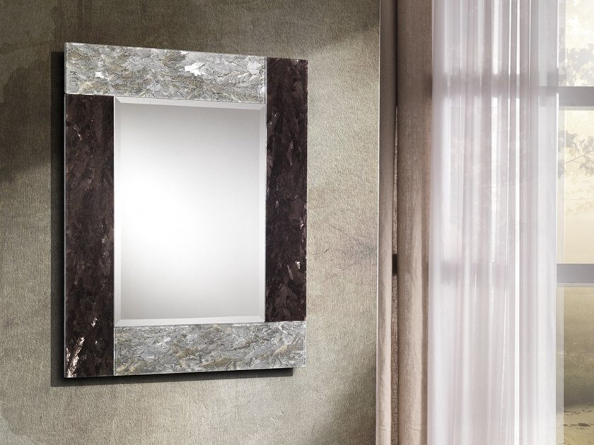 Rectangular wall-mounted framed mirror VENUS by Crystal Stone