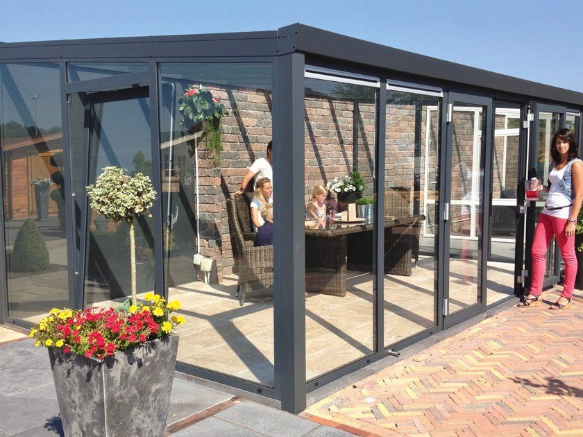 Glass and aluminium conservatory Gardenroom with Double Door by Gardendreams