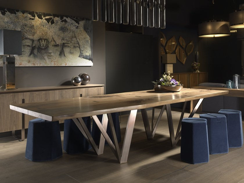 Walnut table VERO L620 | Wood and metal table by Arte Brotto