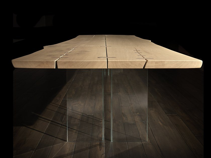 Rectangular wood and glass table VERO L620 | Wood and glass table by Arte Brotto