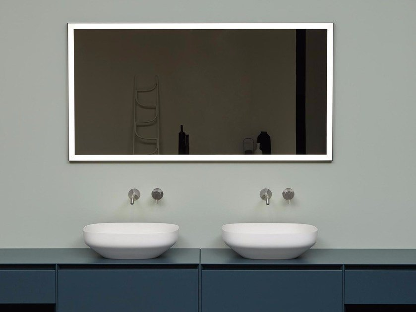 Wall-mounted bathroom mirror with integrated lighting VERTICE by Antonio Lupi Design