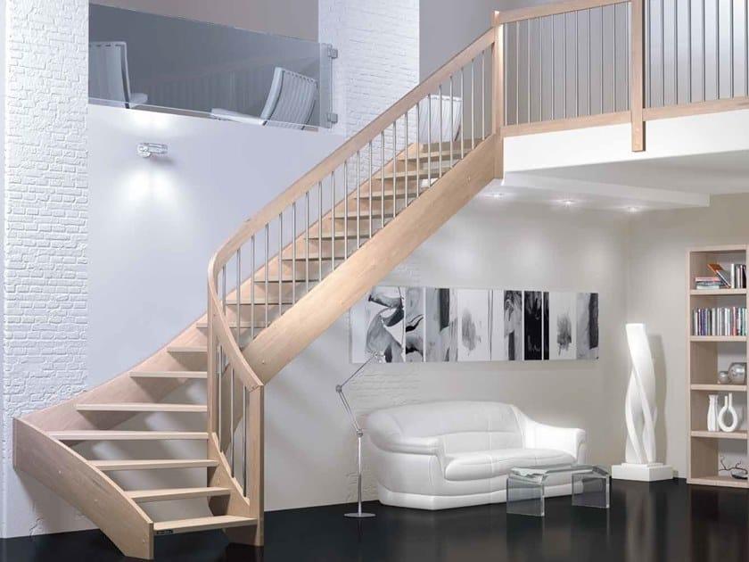 Wooden Open staircase with lateral stringers VERTIGO by MOBIROLO