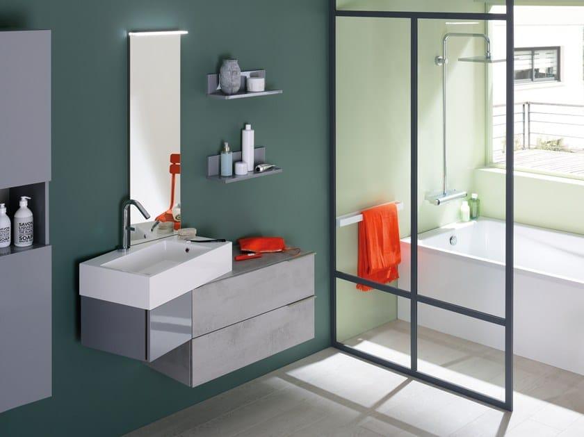 Single wall-mounted vanity unit with drawers VERTIGO by SANIJURA