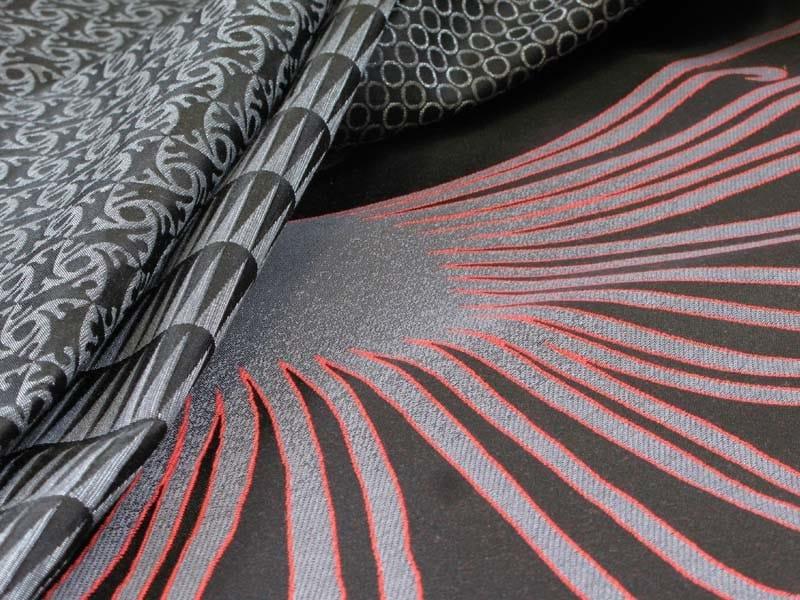 Jacquard fabric with graphic pattern VERTIGO TRIANGLE by l'Opificio