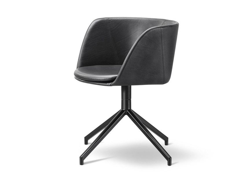 Leather chair with 4-spoke base VERVE | Leather chair by FREDERICIA FURNITURE