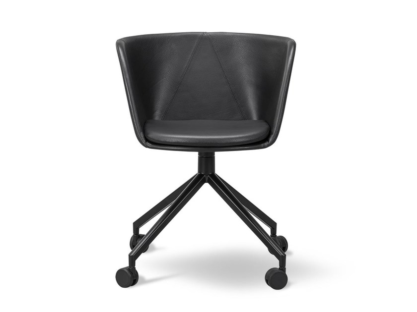 Leather chair with 4-spoke base with casters VERVE | Leather chair by FREDERICIA FURNITURE