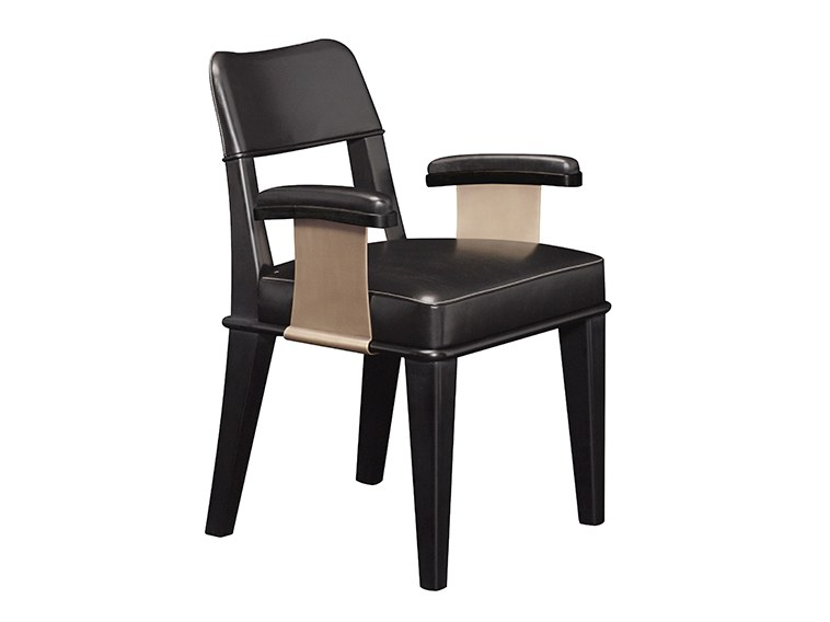 Upholstered leather chair with armrests VESPERTINE | Chair with armrests by Promemoria