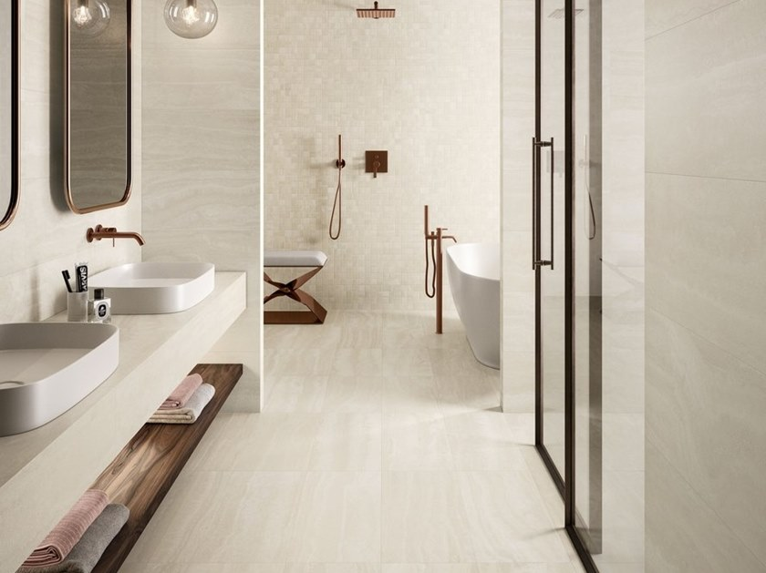 Porcelain stoneware wall/floor tiles with marble effect VIA APPIA VEIN CUT IVORY by CERAMICA SANT'AGOSTINO