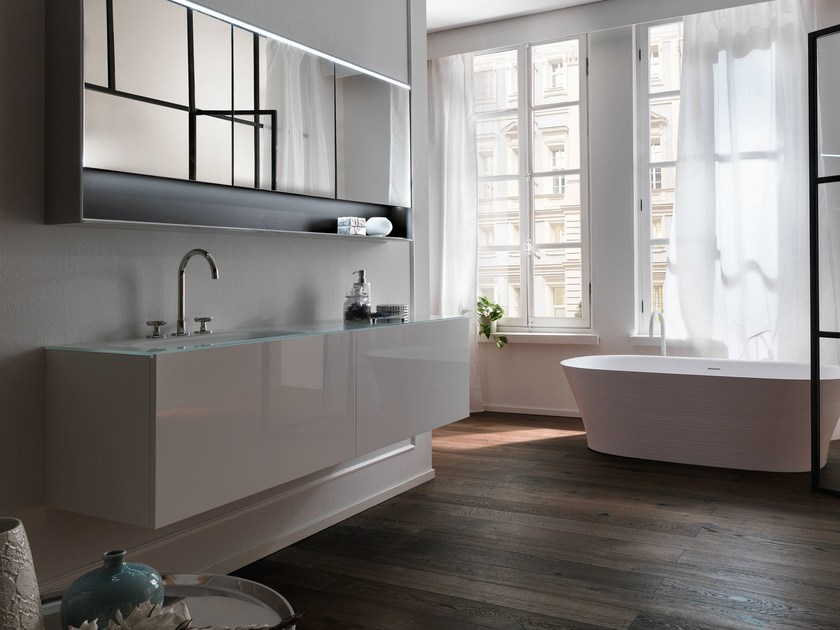 Wall-mounted wooden vanity unit with drawers VIA VENETO | Lacquered vanity unit by FALPER