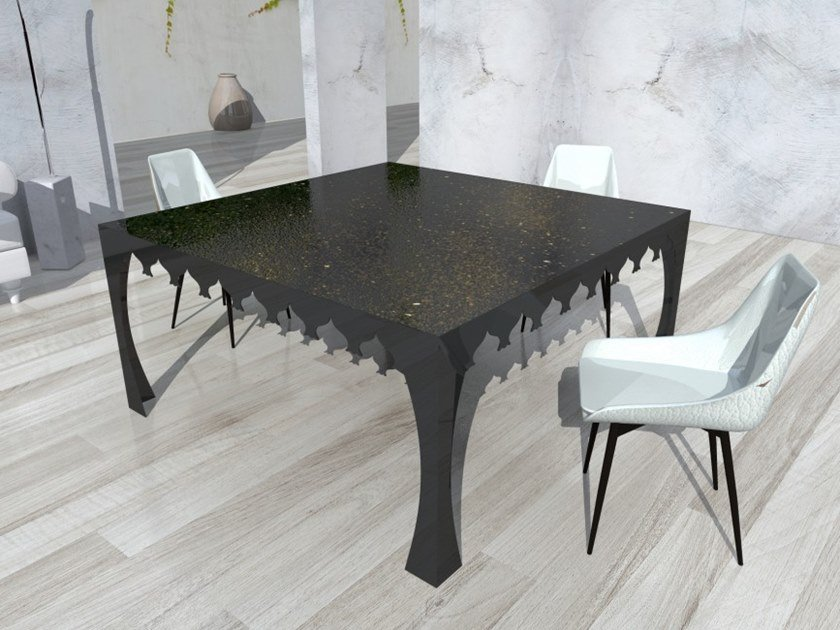 Square tempered glass dining table VIAGGIO IV by Unica by Tecnotelai