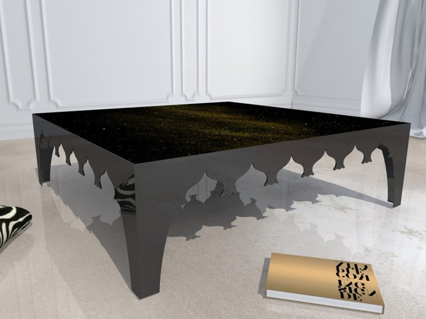 Square tempered glass coffee table VIAGGIO VII by Unica by Tecnotelai