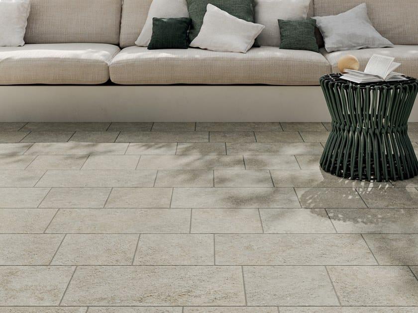 Porcelain stoneware outdoor floor tiles with stone effect VIE DELLA PIETRA FALESIA by Marca Corona