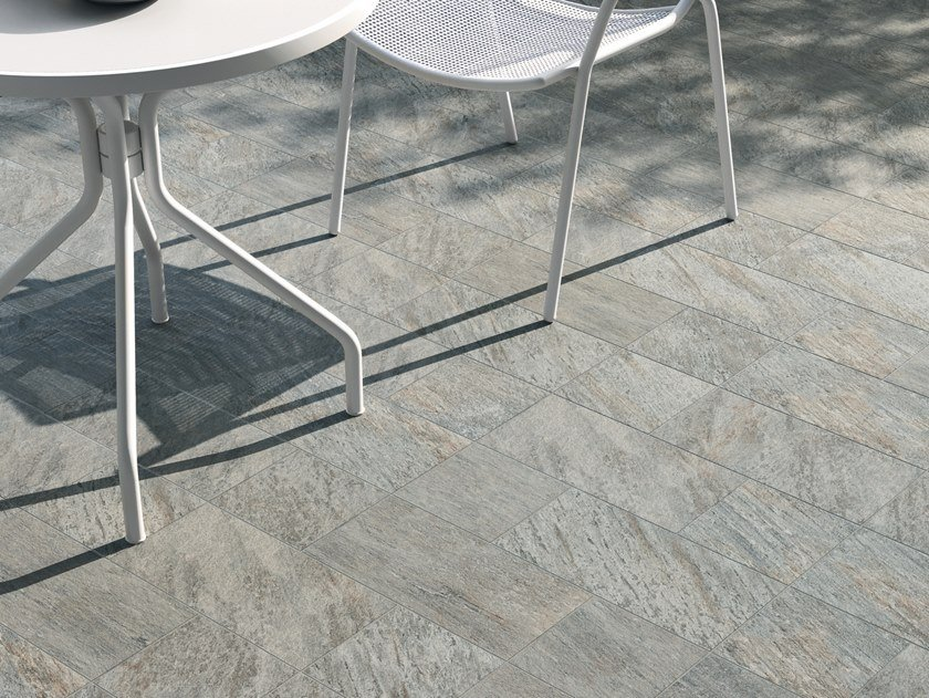 Porcelain stoneware outdoor floor tiles with stone effect VIE DELLA PIETRA QUARZITE by Marca Corona