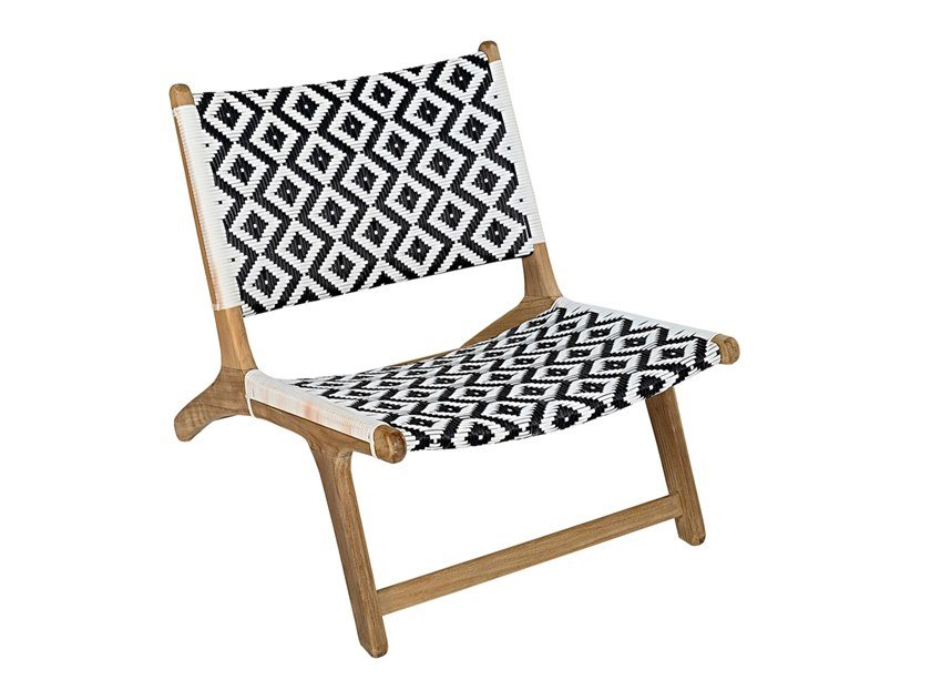Garden teak and synthetic easy chair VIENNA RELAX DIAMOND by cbdesign