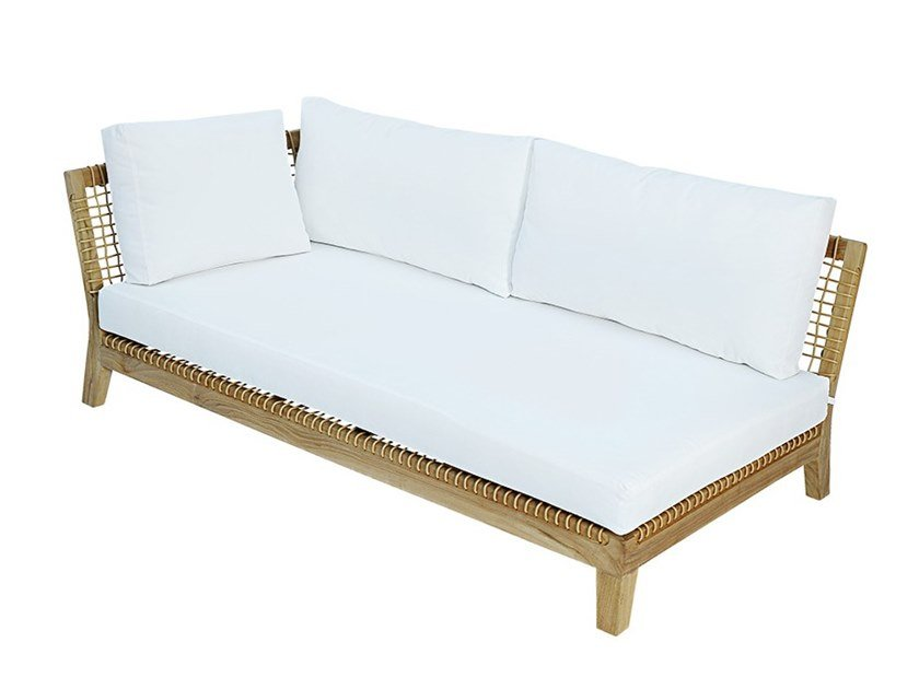 Left / Right module for sectional sofa in teak and rope VIENNA RIGHT / LEFT by cbdesign
