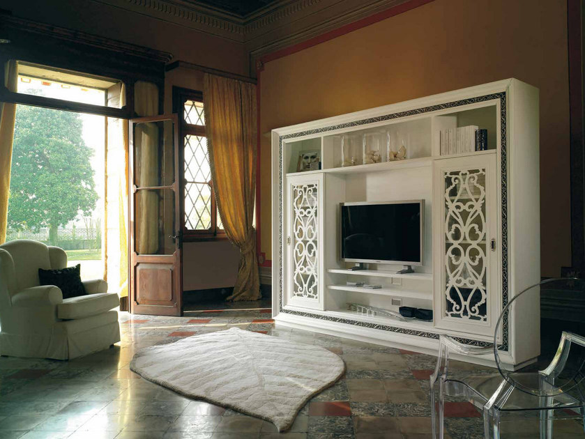 Solid wood TV wall system VILLA | Storage wall by Arvestyle