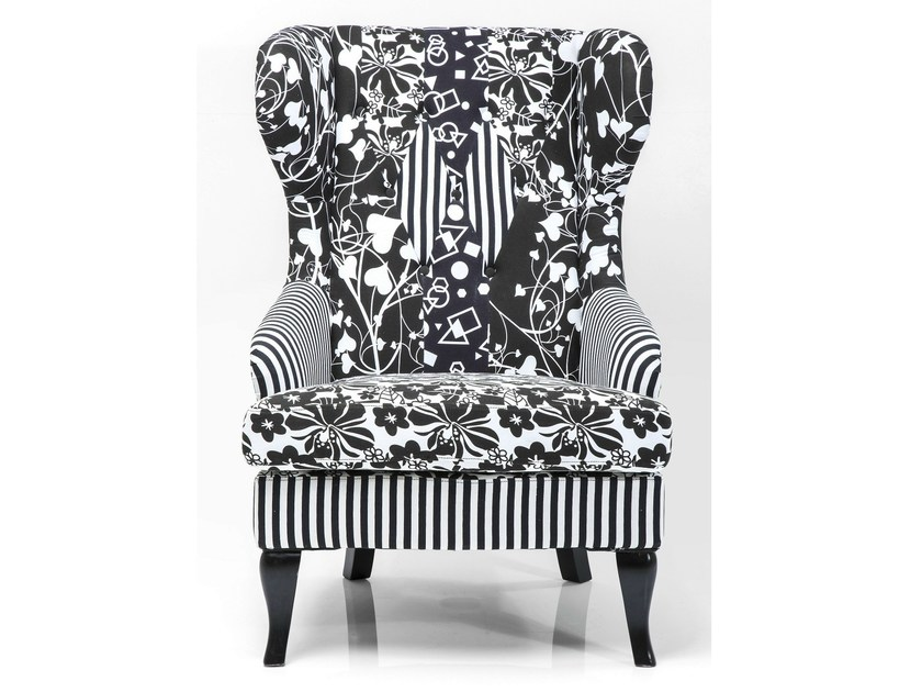 Fabric armchair with armrests VILLA BLACK AND WHITE by KARE-DESIGN