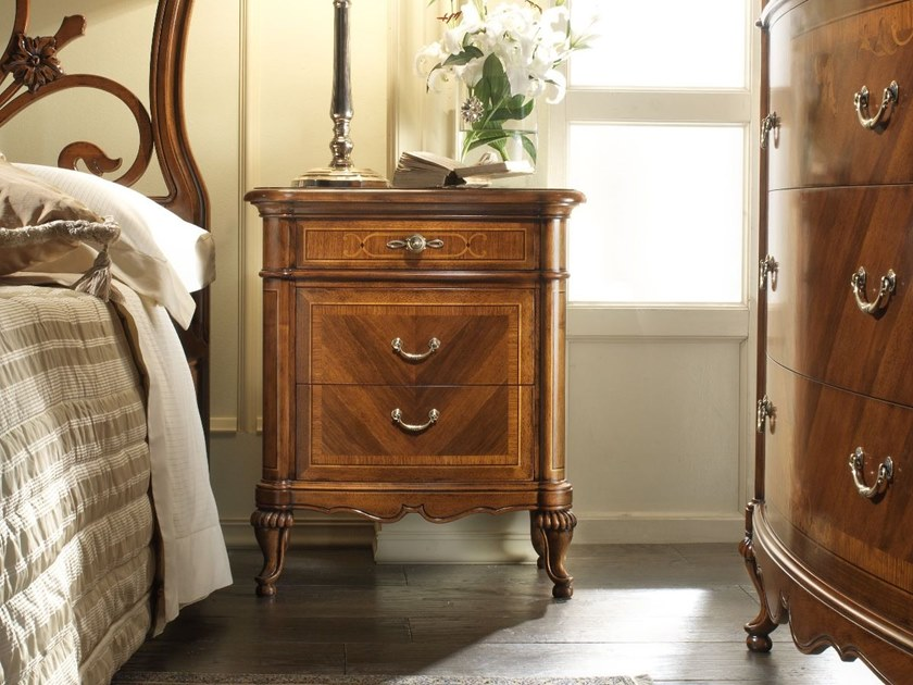 Rectangular walnut bedside table with drawers VILLA GIUSTI | Bedside table by MOLETTA