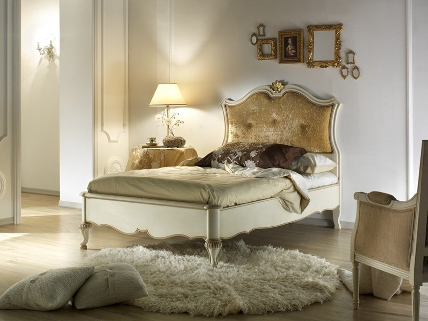 Full size lacquered bed with upholstered headboard VILLA GIUSTI | Full size bed by MOLETTA
