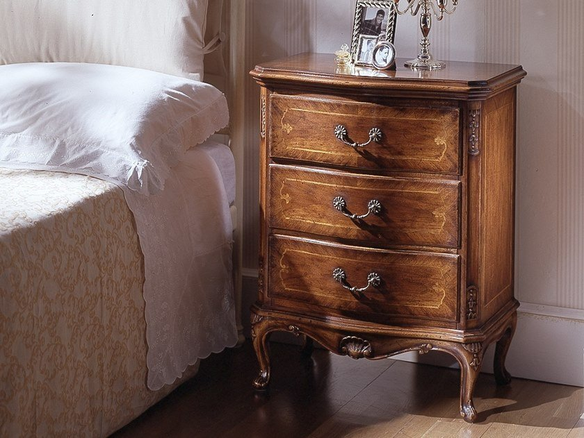Rectangular walnut bedside table with drawers VILLA MASER | Bedside table by MOLETTA