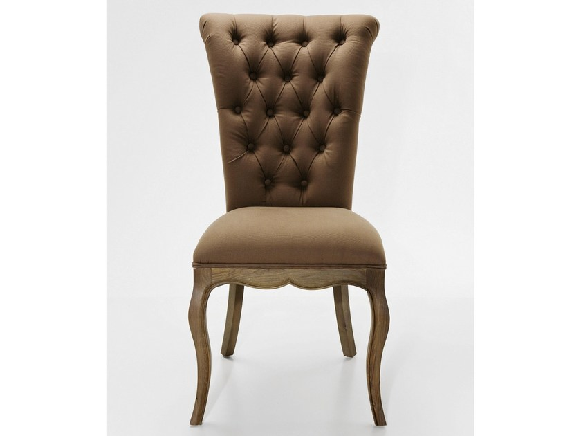 Tufted upholstered fabric chair VILLA OAK TAUPE by KARE-DESIGN