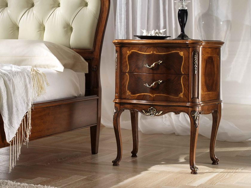 Rectangular walnut bedside table with drawers VILLA PISANI   Bedside table by MOLETTA