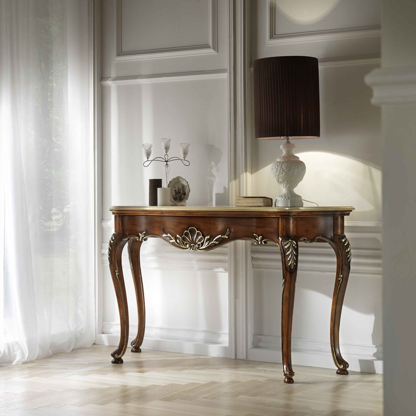 Rectangular walnut console table with drawers VILLA PISANI   Console table by MOLETTA