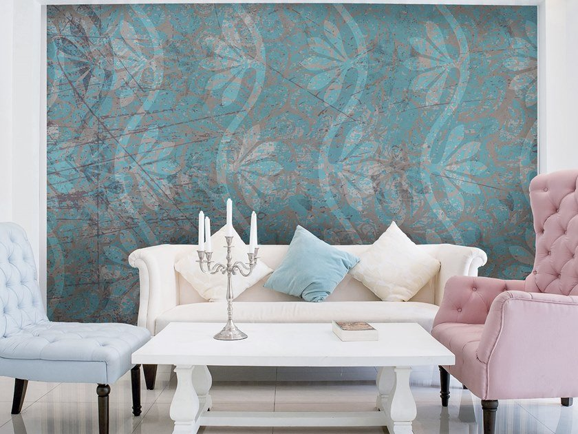 Rubber Digital printing wallpaper with floral pattern VILLA by Tecnografica Italian Wallcoverings
